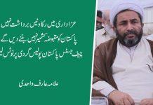 عزاداری میں رکاوٹیں برداشت نہیں ،پاکستان کومقبوضہ کشمیر نہیں بننے دیں گے،علامہ عارف واحدی
