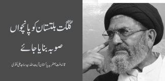 گلگت بلتستان سرزمین بے آئین، شہری 70 سال سے بے شناخت ہے، پانچواں صوبہ بنایا جائے علامہ ساجد علی نقوی