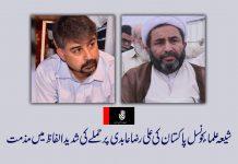 شیعہ علماء کونسل پاکستان کا علی رضا عابدی پر حملے کی شدید الفاظ میں مذمتشیعہ علماء کونسل پاکستان کا علی رضا عابدی پر حملے کی شدید الفاظ میں مذمت