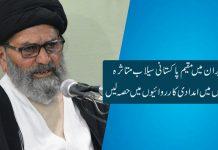 ایران میں مقیم پاکستانی سیلاب متاثرہ علاقوں میں امدادی کارروائیوں میں حصہ لیں، قائد ملت جعفریہ پاکستان