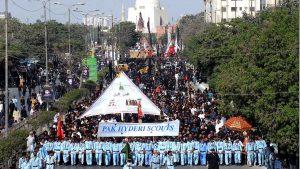 پاکستان کے سب سے بڑے شہر  کراچی میں یوم عاشور کا مرکزی جلوس لاکھوں عزادار شریک
