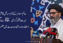 عالم اسلام کے تمام مسائل کا حل سیرت پیغمبر گرامی سے صحیح استفادہ اور اتحاد و وحدت میں مضمر ہے