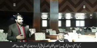 رکن اسمبلی اسلامی تحریک پاکستان کیپٹن سکندر کی پیش قرارداد بھاری اکثریت سے منظور