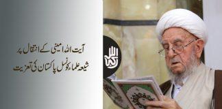 آیت اللہ امینی کے انتقال پر شیعہ علماء کونسل پاکستان کی تعزیت