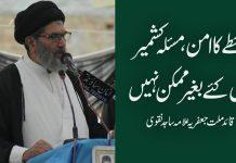 خطے کا امن، مسئلہ کشمیرحل کئے بغیر ممکن نہیں،قائد ملت جعفریہ علامہ ساجد نقوی