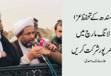 سندھ کے تحفظ عزالانگ مارچ میں بھر پور شرکت کریں، علامہ عارف واحدی