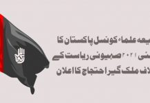 شیعہ علماء کونسل پاکستان کا ۲۱ مئی اسرائیلی جارحیت کیخلاف ملک گیر احتجاج کا اعلان