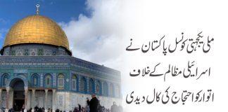 ملی یکجہتی کونسل پاکستان کی اتوار کو اسرائیلی مظالم کیخلاف احتجاج کی کال