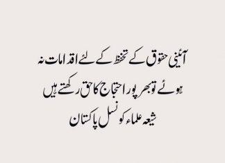 ٓآئینی و قانونی حقوق پر اقدامات نہ کئے گئے تو بھرپور احتجاج کا حق رکھتے ہیں شیعہ علماء کونسل پاکستان