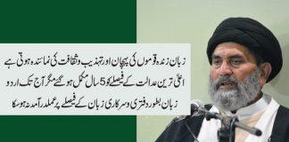زبان زندہ قوموں کی پہچان اورتہذیب وثقافت کی نمائندہ ہوتی ہے ، قائد ملت علامہ ساجد نقوی