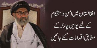افغانستان میں امن و استحکام کے لئے یو این چارٹر کے مطابق اقدامات کئے جائیں علامہ ساجد نقوی